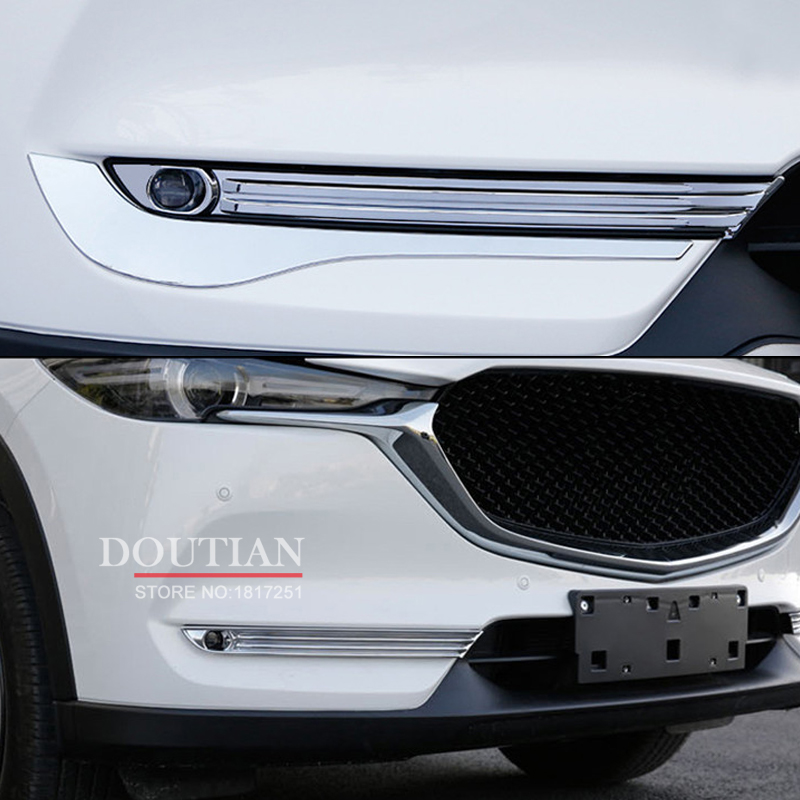 High Quality ABS Chrome front fog light Lamp Cover For <font><b>Mazda</b></font> CX-5 <font><b>CX5</b></font> <font><b>2018</b></font> Car Accessories 2pcs image
