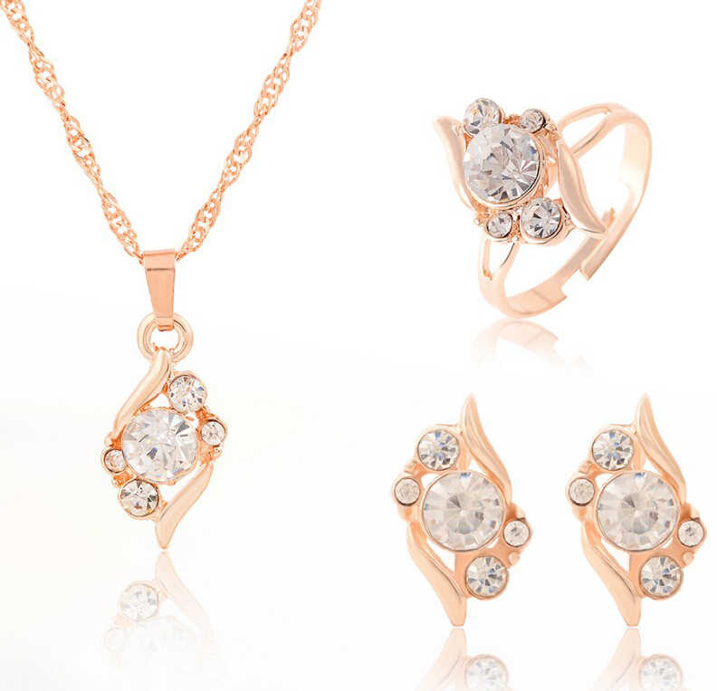 Hesiod Classic Crystal 4pcs Jewelry Sets Wedding Gold Color Jewelry for Women