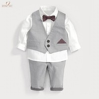 Nyan Cat Baby boys clothes gentlemen bow tie white shirt Waistcoat Bowtie Pantset wedding party birthday infant costume clothing