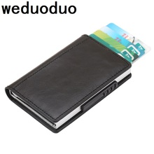 Weduoduo 2019 Men And Women Credit Card Holder New Design Pu Leather Fashion Mini Safe Aluminum Antimagnetic Purse Case