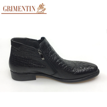 GRIMENTIN brand crocodile style mens ankle boots genuine leather brown black Italian fashion wedding men boots