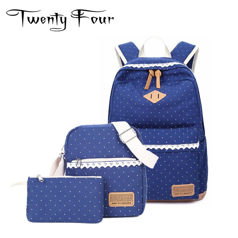 Twenty-four 2017 Canvas Laptop Backpack Preppy Style Three In One Backpack With Spot Multicolor Young Ladies School Bag Mochila three wheel with two seater twin dolls kang pedal three wheeled cart with awning four in one function