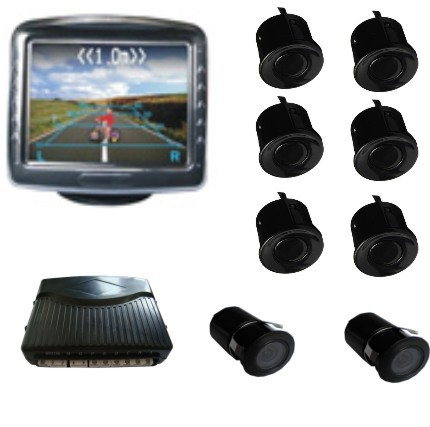 video Parking sensor system Dual view parking sensor;with two car camera and 3.5 inch screen parking assistance