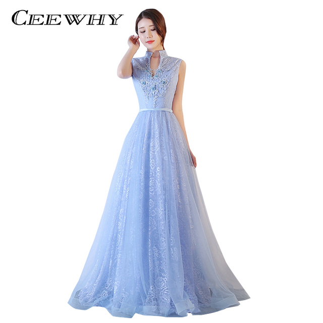8eb932b5895a CEEWHY High Collar V-Neck Formal Party Dress for Women Light Blue Lace  Tulle Embroidery Evening Dress Luxury Night Prom Dress