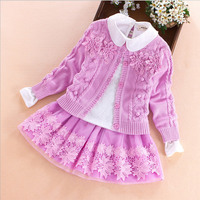 Children's clothing set 2017 autumn winter Sweater coat+shirt+skirt 3pcs lace flowers Kids girls cotton clothes 7 8 10 13 years