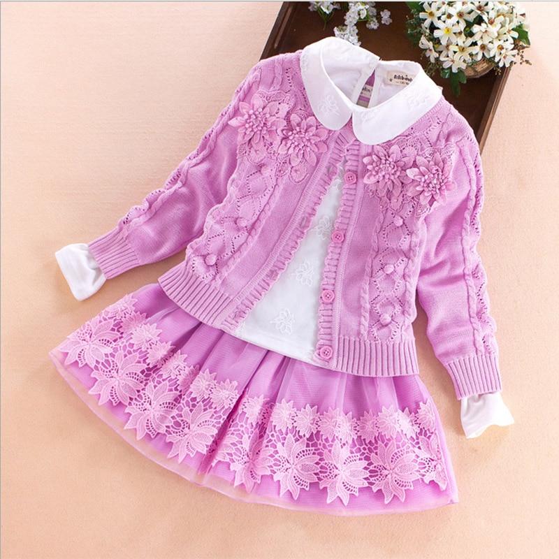 Children's Clothing Set 2017 Autumn Winter Sweater Coat+shirt+skirt 3pcs Lace Flowers Kids Girls Cotton Clothes 7 8 10 13 Years