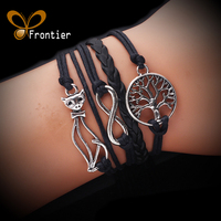 Fashion Charm Trees Eight Multilayer Braided Stranded Hand Wax Rope Bracelets Gift For Women Wedding B5B080