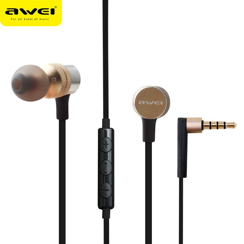 Awei ES-20TY In-Ear Earphone 3.5mm Jack  Super Bass Headset With Microphone Metal for Phone MP3 MP4 PC awei es 10ty metal earphone stereo headset in ear noise reduction auriculares headphone with microphone for phone kulakl k
