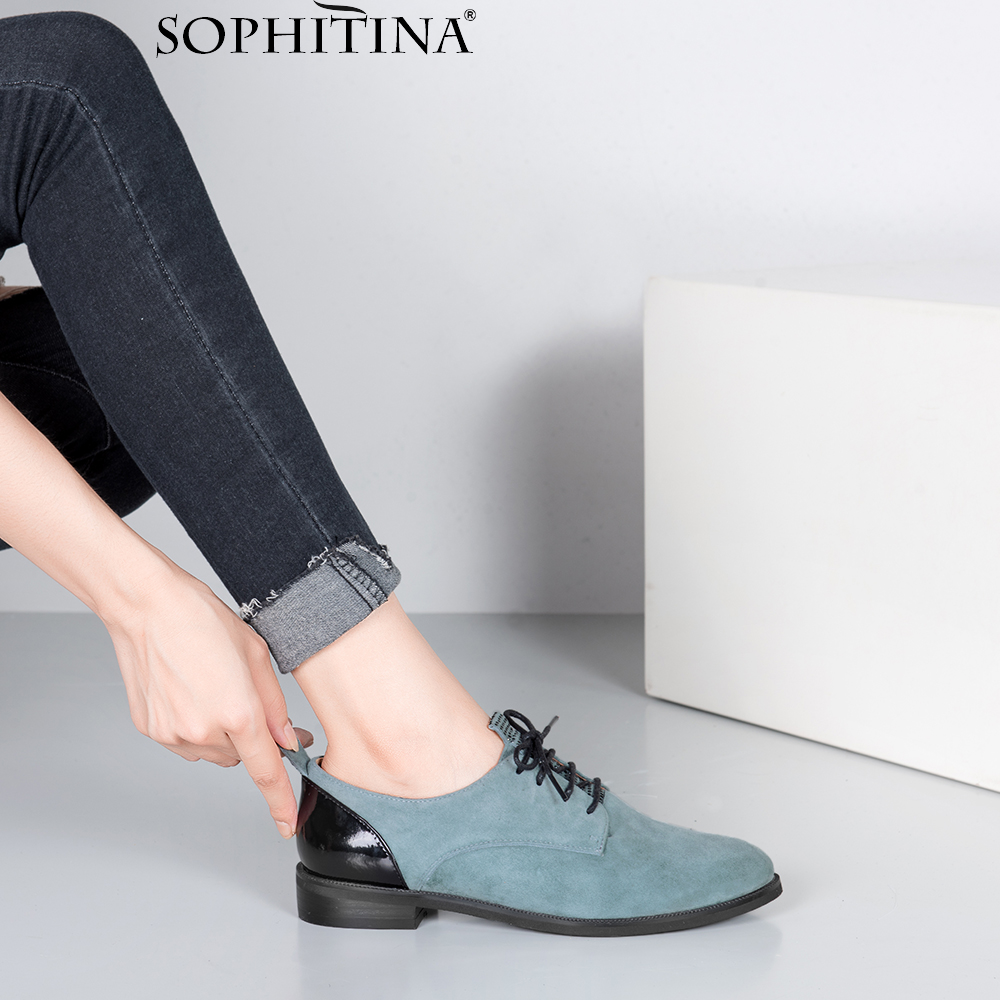 SOPHITINA Quality Handmade Flats Genuine Leather Round Toe Lace-up Casual Oxford Women Shoes Soft Low Heels Office Lady Flat P61