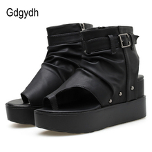 Women's Sandals Platform Wedge Peep-Toe Summer Buckle Slingbacks-Shoes Zipper Gdgydh