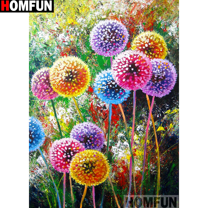"""HOMFUN Full Square/Round Drill 5D DIY Diamond Painting """"Colored Dandelion"""" Embroidery Cross Stitch 5D Home Decor Gift A13999"""