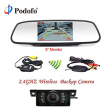 Podofo Auto Parking Assistance Wireless Night Vision Backup Camera 5 Rearview Mirror Monitor Car Rear View