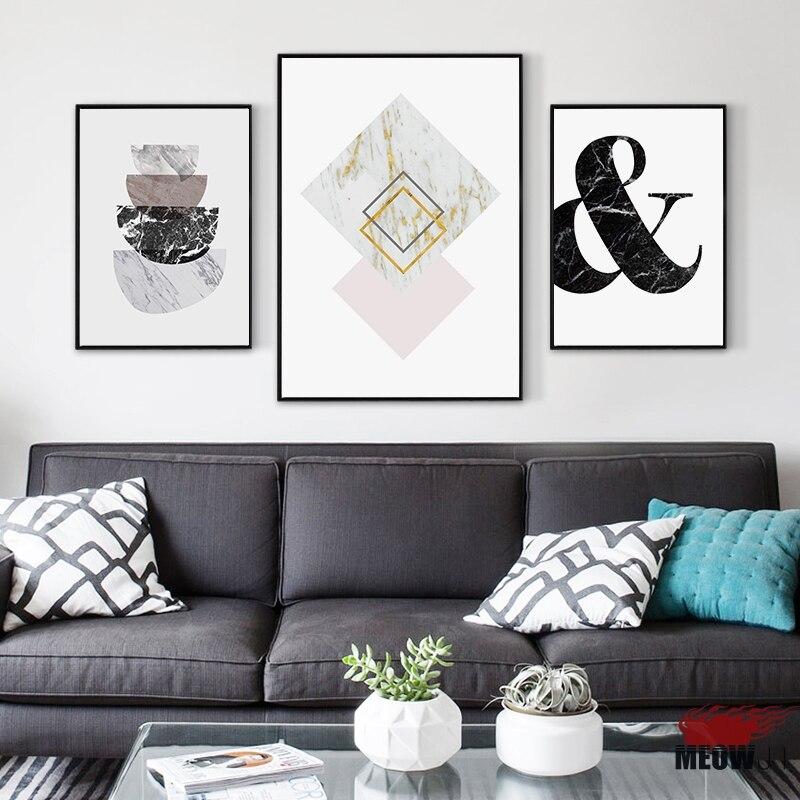 US $4.99  Poster Da Parete di Arte Stampata Su Tela Pittura Per Soggiorno  Nordic Decorazioni In Marmo Irregolare Geometria Wall Art Decor Picture-in  ...