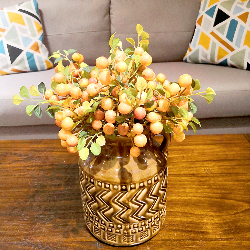 LIN MAN Berry Christmas Red Artificial branch small bacca fruit berries fake plants for new house home table Decoration fleur in Artificial Dried Flowers from Home Garden