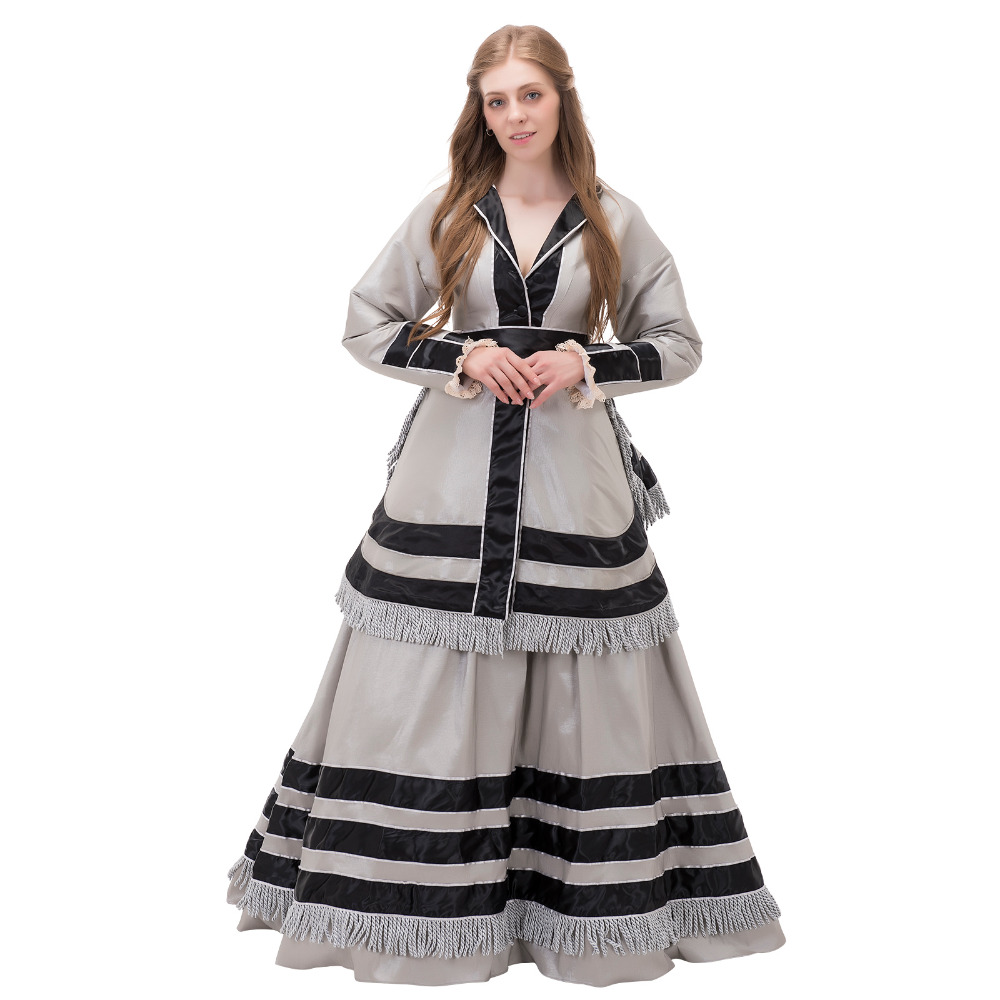 Antique Civil War Era Day Dress 1860s Victorian Dress Costume Medieval Renaissance Wedding Dress Ball Gown Halloween Costume(China)