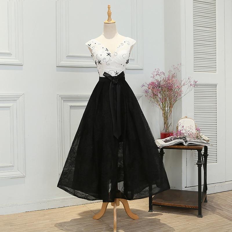 Evening     dress   new short Style V-neck banquet thin fashion black and white element elegant performance Korean   dress