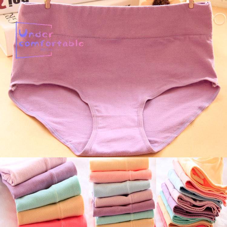 0707 Plus Size High Rise Hystera Protected Solid Pure Cotton Women Underwear 12 Colors Lady Comfortable Panties Girls Briefs in women 39 s panties from Underwear amp Sleepwears