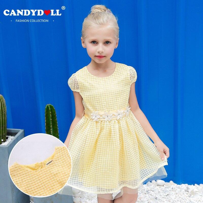 Candydoll 2017 Children Girls Dresses Summer Fashion Plaid Mesh Lace Dresses Girls Puff Sleeve Princess Dresses 3-10Y SAJ3165