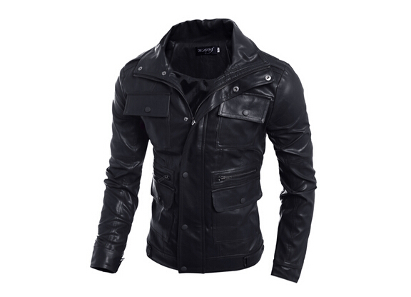 New Men Clothing Casual Slim Fit men long sleeve Leather shirt Motorcycle jackets Mens Dress Shirts Long Sleeve chemise homme