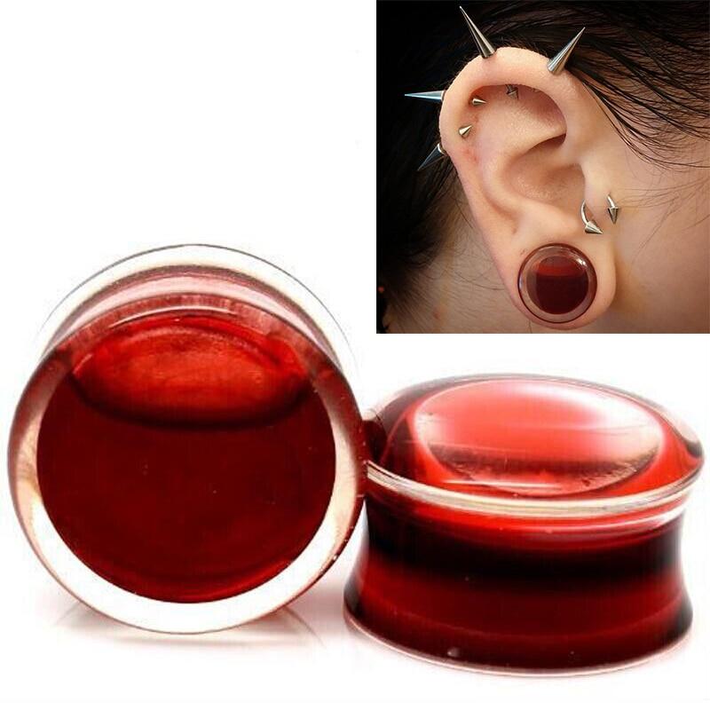 Ehrlichkeit Ohr Expander Piercing Schmuck 1 Para Blood Red Flüssigkeit Acryl Flare Flesh Tunnel Ohrstöpsel Expander 8-25mm Ohr Bahre Schuhe