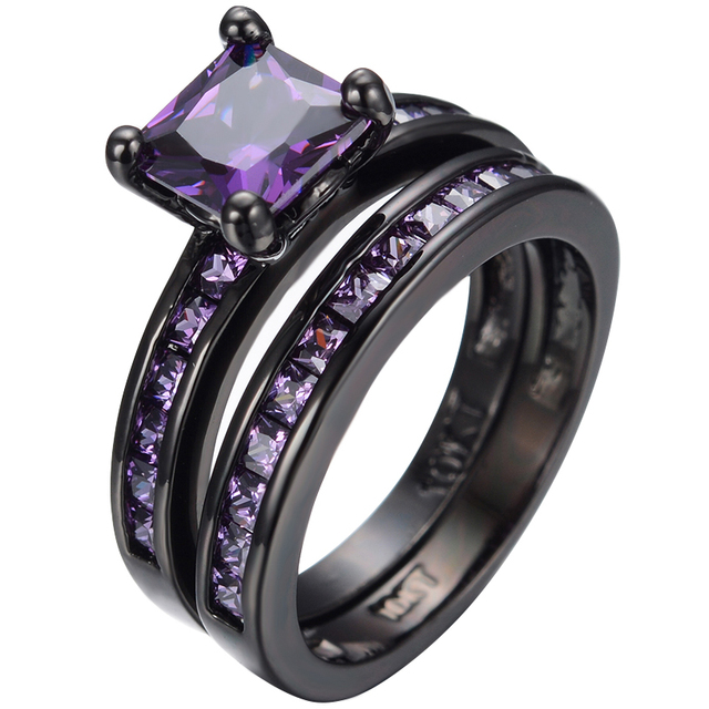 Geometric Purple Topaz Stone Engagement Ring Set Genuine