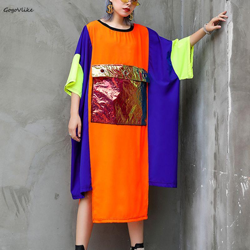 2019 nouveau printemps été couleur bloc tenue décontractée femmes robe lâche couleur bloc grande taille robe en mousseline de soie femmes Vestidos LT938S50