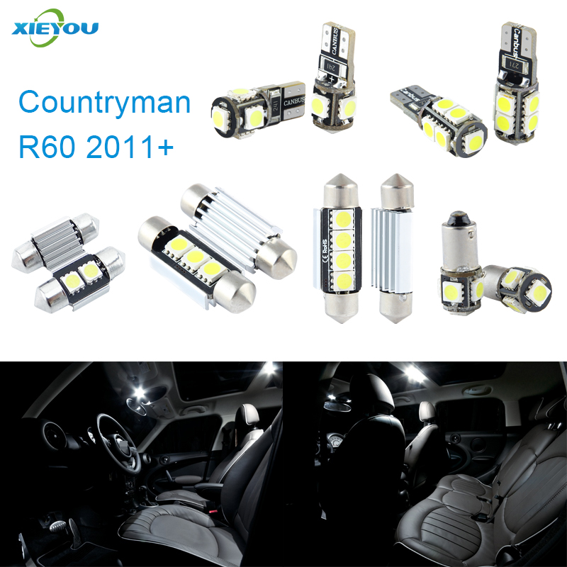 XIEYOU 13pcs Paquete de kit de luces interiores LED Canbus para Countryman R60 (2011+)