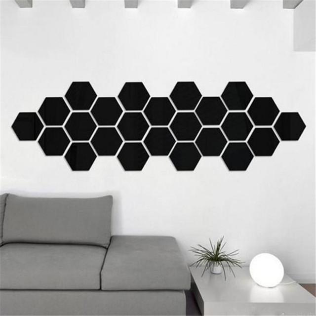 12Pcs 3D Mirror Hexagon Vinyl Removable Wall Sticker Decal Home Decor Art DIY small Acrylic geometric design sticker on sale