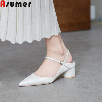 ASUMER 2019 new sandals pointed toe shallow buckle thick high heels shallow classic prom dress shoes med heels women sandals