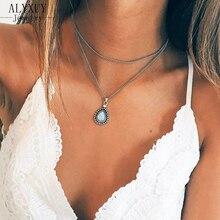1lots=2pcs New vintage silver color drop stone pendant neckl