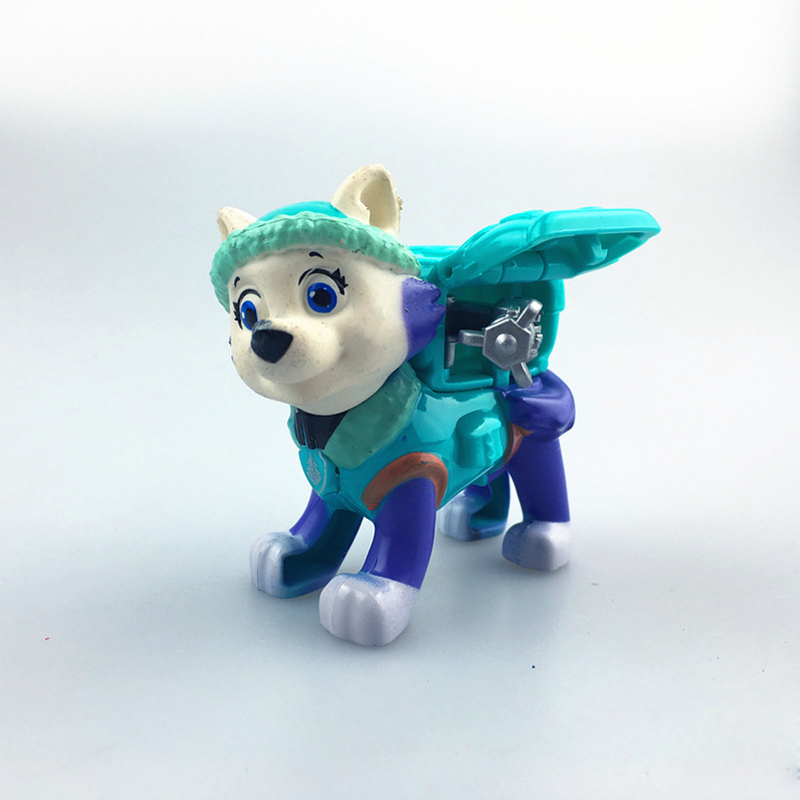 AUTOPS Skyblue Patrol Dog With Shield Anime Toys Action Figure Everest Dog Kid Toy Puppy Patrol Patrulla Canina Toys hild Gift new 3 5inch patrol dog anime toys action figure moviejuguetes brinquedos cute puppy patrol toys for child gift girls children