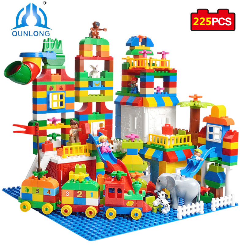 Qunlong Toys Big Size Building Blocks Number Train Bricks Birthday Gift DIY Compatible Legoe Duplo Educational Toys For Children decool 3117 city creator 3 in 1 vacation getaways model building blocks enlighten diy figure toys for children compatible legoe