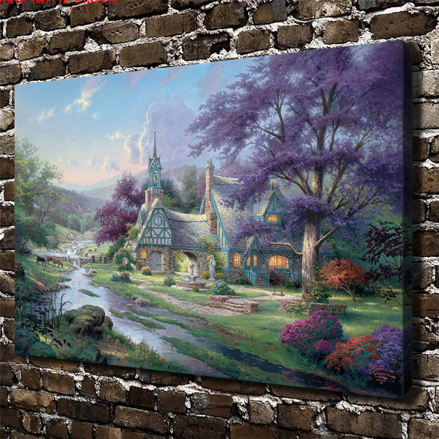 thomas kinkade clocktower cottage canvas painting print living room rh aliexpress com