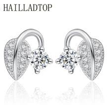 Women s Stud Earrings Jewelry Special Design Sweet Leaves Bud Earrings Luxury Shining Cubic Zirconia Crystal