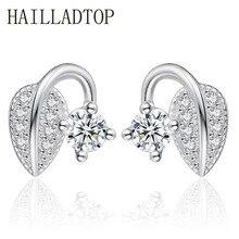 Women's Stud Earrings Jewelry Special Design Sweet Leaves Bud Earrings Luxury Shining Cubic Zirconia Crystal Earrings Wholesale