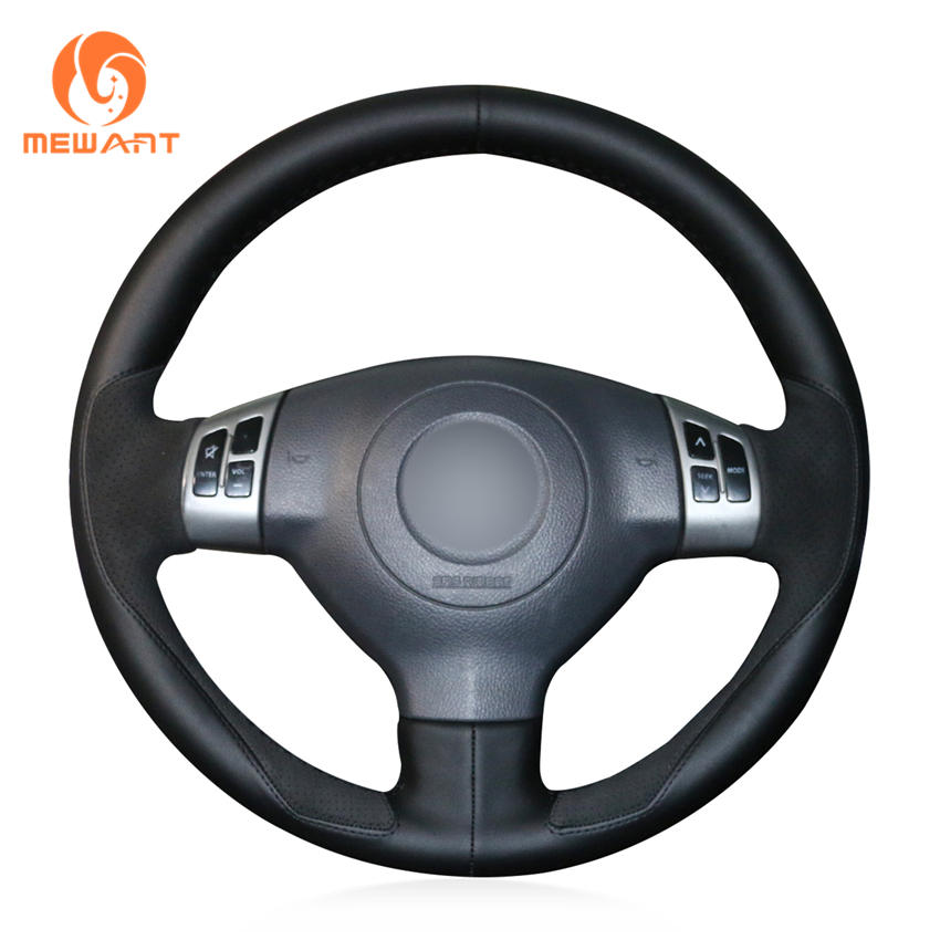 MEWANT Black Leather Black Suede Car Steering Wheel Cover for Suzuki Swift Sport 2005 2011 Splash 2007 2015 Opel Agila Vauxhall
