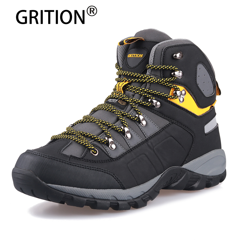 Grition Males Sneakers Males Mountain climbing Boots Waterproof Excessive High Strolling Non Slip Tender Shell Trekking Sneakers Informal Footwear Pu Males Boots