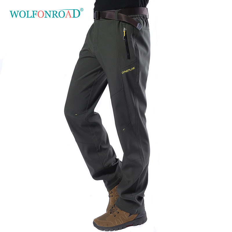 WOLFONROAD Men Thermal Outdoor Hiking Pants Waterproof Camping Trekking 5XL Trousers Sport Mountain Fishing Men s
