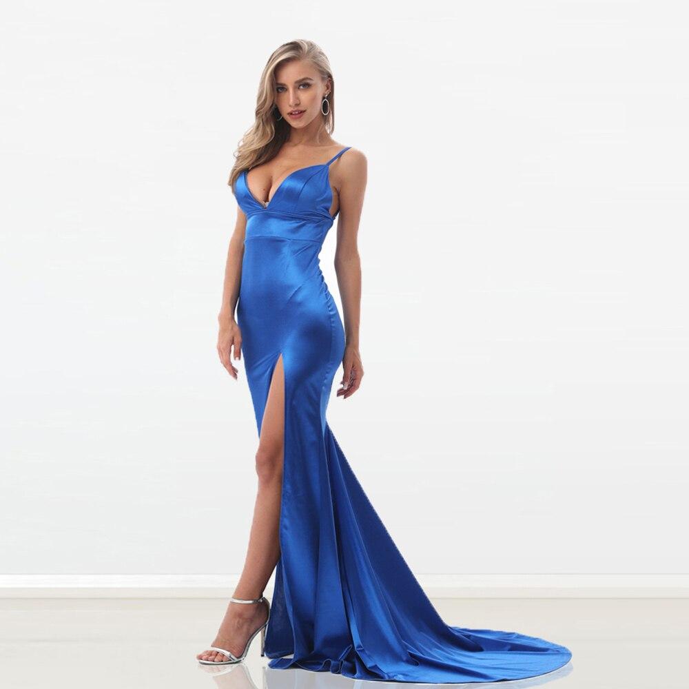 Nouveau Sexy dos nu dos ouvert fermeture éclair bleu Satin robe de soirée haute fendu longue longueur de plancher robe moulante rembourré Stretch col en V robe