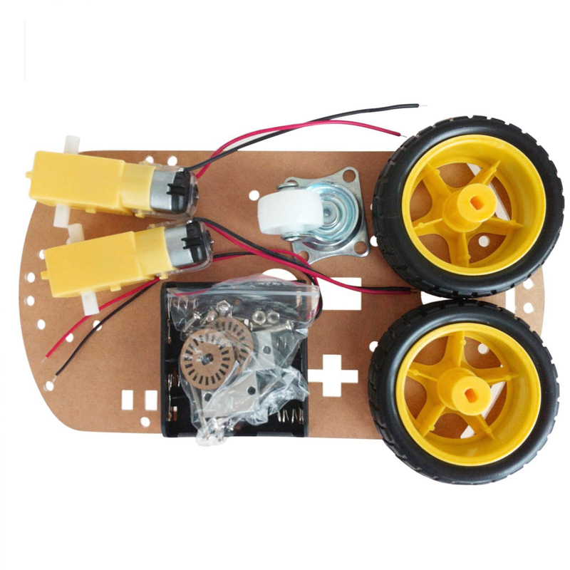 цена на Motor Smart Robot Car Chassis Kit Speed Encoder Battery Box 2WD For Arduino