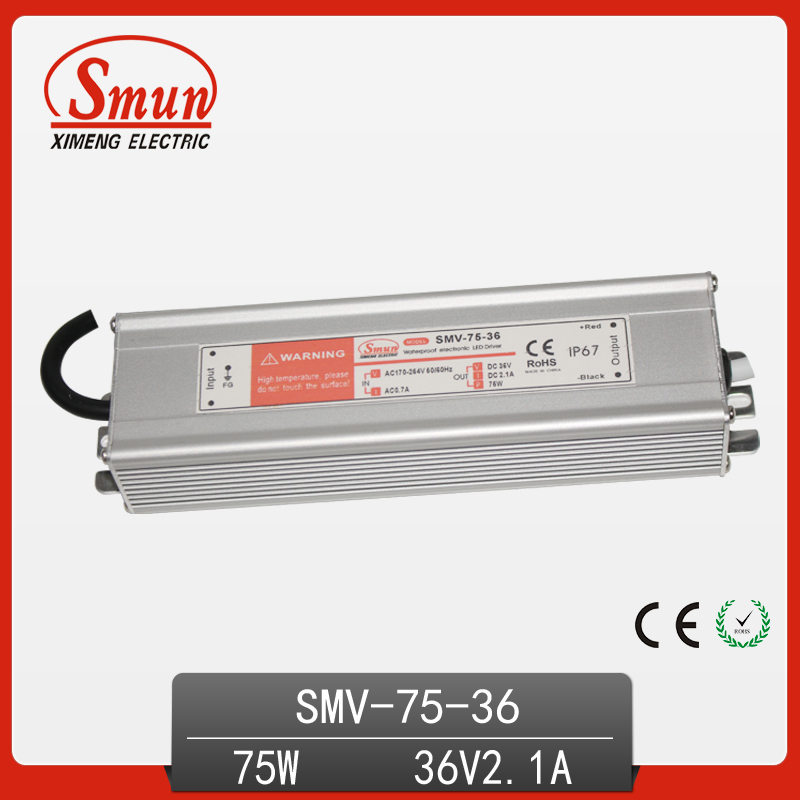 SMUN 75W 36V 2.1A Waterproof IP67 LED Driver Switching Power Supply with CE ROHS 1 Year Warranty SMV-75-36 image