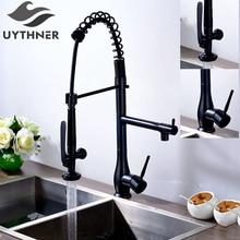 Uythner Superior Quality Heighten Solid Brass Black Bronze Kitchen Faucet Mixer Tap with Sharp Handle Hot