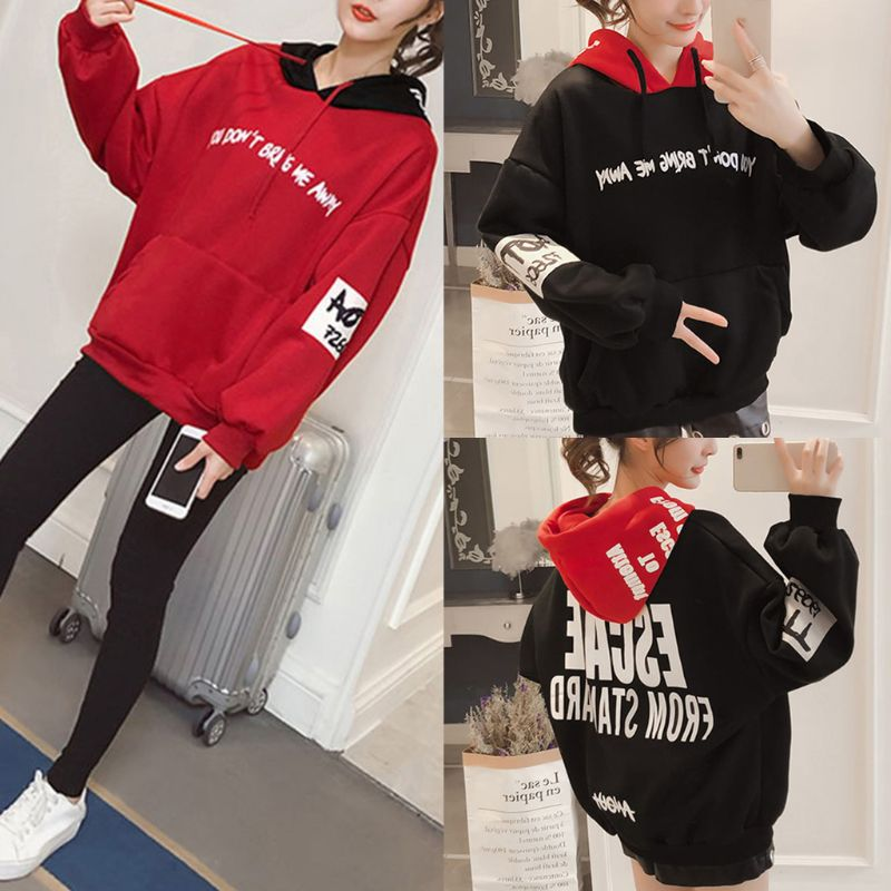 Women Plus Size Winter Long Sleeve Contrast Color Hooded Sweatshirt Drawstring Hip Hop Streetwear Letters Print Loose Pullover