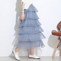 Ruffled Tutu Skirt Women Summer Fashion Streetwear High Waist Skirts Black White Pink Beige Blue Mesh Women Skirts Jupe Femme