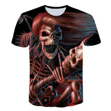 Skull Guitar T shirt Street Fashion Soul Chariot Rock Music O-Neck Casual Tshirt Homme Top Hip Hop T-Shirt Male