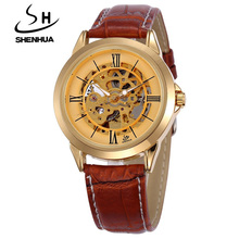 SHENHUA Famous Brand Luxury Gold Skeleton Automatic Mechanical Watches Men Water