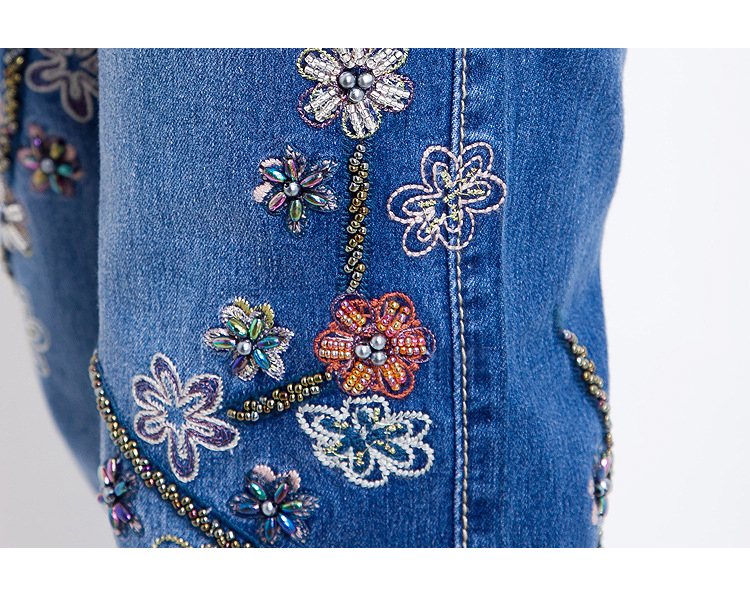 KSTUN Jeans Women Brand 2019 Manual Beading Embroidered Flared Fashion Designer Stretch Hand Beads