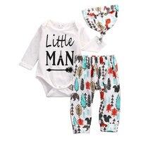 Newborn Baby Boys Clothes Little Man Long Sleeve Cotton Romper Pants Leggings Hat 3pcs Outfits Bebek
