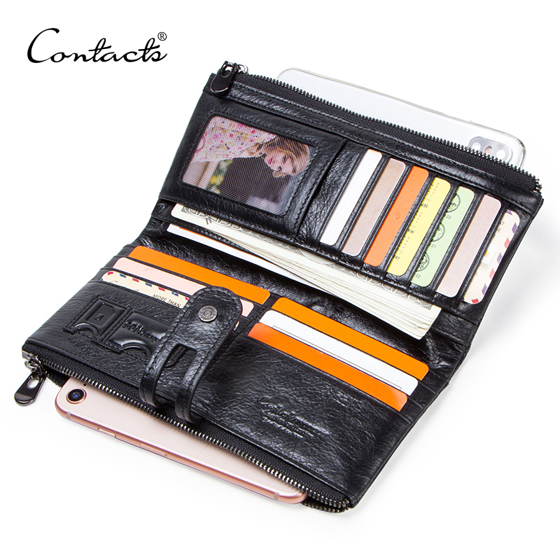 CONTACT'S genuine leather men long wallet lady purse card holder clutch with coin pocket zipper money bag for phone male wallets