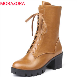 Image 1 - MORAZORA 2020 new style ankle boots for women round toe autumn winter boots zipper lace up platform boots punk shoes woman